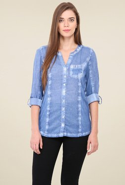 Free & Young Blue Full Sleeves Shirt