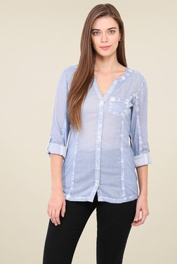 Free & Young Light Blue Full Sleeves Shirt