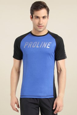 Proline Blue & Black Round Neck T-Shirt