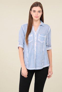 Free & Young Light Blue 3/4th Sleeves Shirt