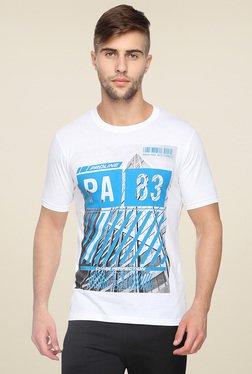Proline White Round Neck Printed T-Shirt