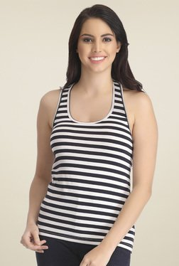 Clovia Black & White Striped Tank Top