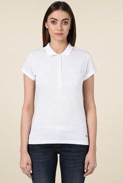 Park Avenue White Printed Regular Fit Polo T-Shirt