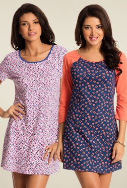 PrettySecrets Pink & Navy Printed Nightdress (Pack Of 2)