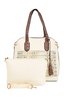 Vero Couture White Laser Cut Shoulder Bag With Pouch