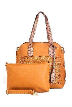 Vero Couture Tan Laser Cut Shoulder Bag With Pouch