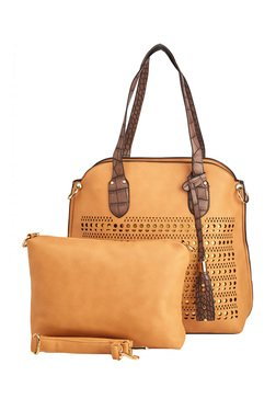 Vero Couture Light Brown Laser Cut Shoulder Bag With Pouch