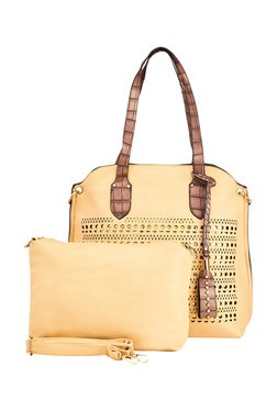 Vero Couture Cream Laser Cut Shoulder Bag With Pouch