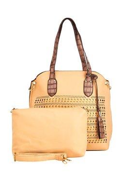 Vero Couture Beige Laser Cut Shoulder Bag With Pouch