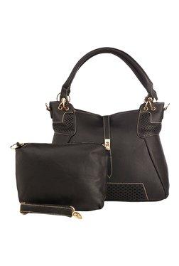 Vero Couture Black Laser Cut Shoulder Bag With Pouch