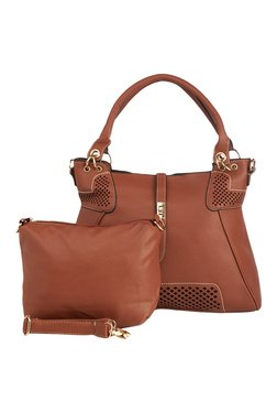 Vero Couture Dark Brown Laser Cut Shoulder Bag With Pouch