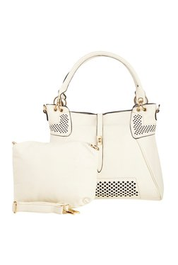 Vero Couture White Laser Cut Shoulder Bag With Pouch - Mp000000001287359