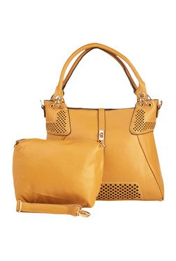 Vero Couture Mustard Laser Cut Shoulder Bag With Pouch