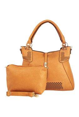 Vero Couture Tan Laser Cut Shoulder Bag With Pouch - Mp000000001287368