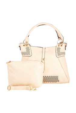 Vero Couture Pink Laser Cut Shoulder Bag With Pouch