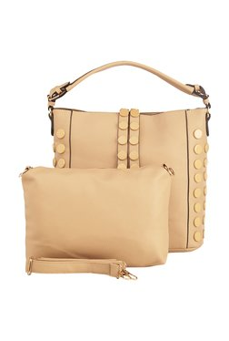 Vero Couture Beige Riveted Hobo Bag With Pouch