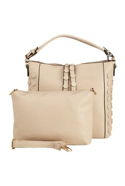 Vero Couture Cream Riveted Hobo Bag With Pouch