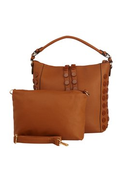 Vero Couture Brown Riveted Hobo Bag With Pouch