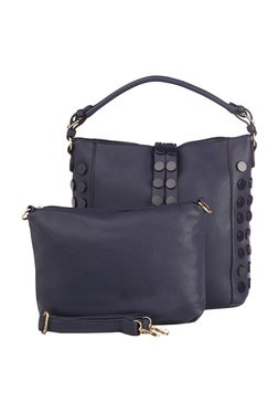Vero Couture Navy Riveted Hobo Bag With Pouch
