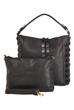 Vero Couture Black Riveted Hobo Bag With Pouch