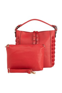 Vero Couture Red Riveted Hobo Bag With Pouch