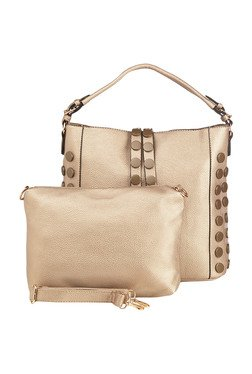 Vero Couture Golden Riveted Hobo Bag With Pouch