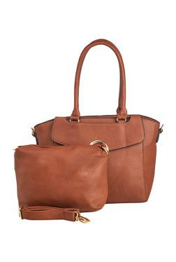 Vero Couture Brown Trapeze Shoulder Bag With Pouch
