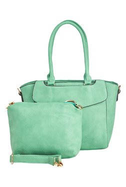 Vero Couture Mint Green Trapeze Shoulder Bag With Pouch