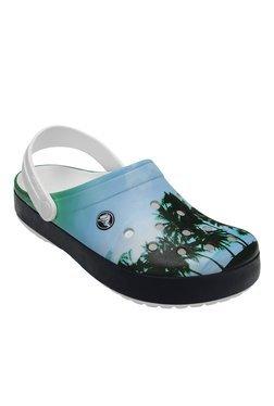 Crocs Crocband Tropics Blue & Green Back Strap Clogs
