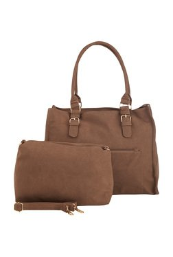 Vero Couture Coffee Brown Solid Shoulder Bag With Pouch