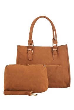 Vero Couture Brown Solid Shoulder Bag With Pouch