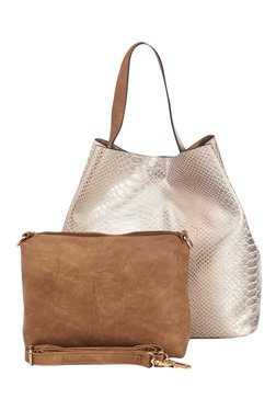 Vero Couture Light Gold Textured Shoulder Bag With Pouch