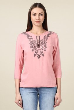 Park Avenue Pink Embroidered Regular Fit Top