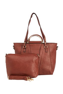 Vero Couture Brown Embossed Tote Bag With Pouch