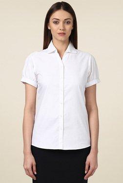 Park Avenue White Regular Fit Short Sleeves Shirt