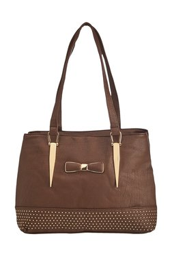 Vero Couture Coffee Brown Bow Riveted Shoulder Bag