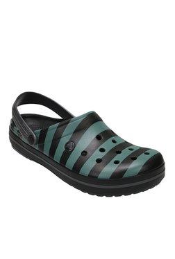 Crocs Crocband Black & Green Back Strap Clogs