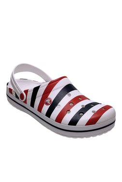 Crocs Crocband White & Red Back Strap Clogs