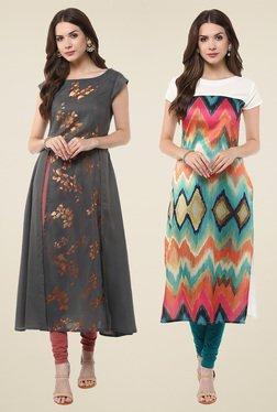 Janasya Charcoal & Multicolor Regular Fit Kurti (Pack Of 2)