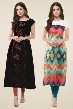 Janasya Multicolor & Black Short Sleeves Kurti (Pack Of 2)
