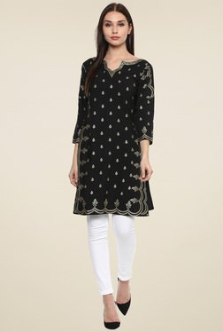 Ahalyaa Black Printed Regular Fit Kurti