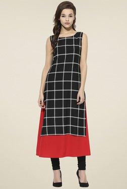 Ahalyaa Black & Red Sleeveless Checks Kurti