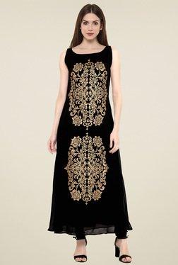 Ahalyaa Black & Gold Printed Sleeveless Kurti