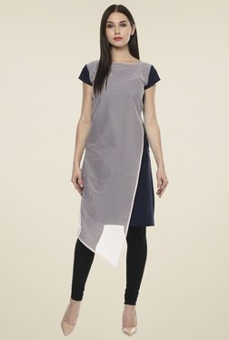 Ahalyaa Grey & Navy Regular Fit Kurti