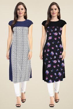 Janasya White & Black Regular Fit Kurti (Pack Of 2)