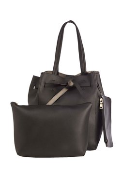 Vero Couture Black Solid Bucket Bag With Wristlet & Pouch