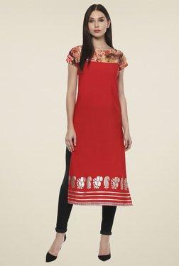 Ahalyaa Red Printed Cap Sleeves Kurti