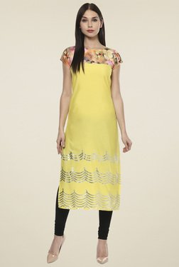 Ahalyaa Yellow Printed Regular Fit Kurti