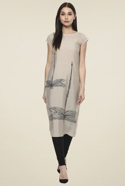 Ahalyaa Grey Printed Regular Fit Kurti