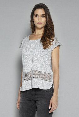 LOV By Westside Grey Lace T Shirt